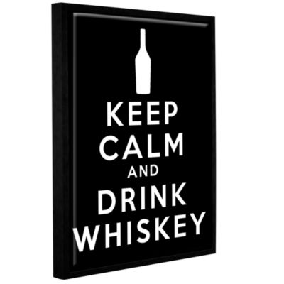 Brushstone Keep Calm And Drink Whiskey (Black) Gallery Wrapped Floater-Framed Canvas Wall Art