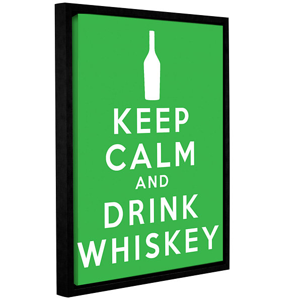 Brushstone Keep Calm And Drink Whiskey (Green) Gallery Wrapped Floater-Framed Canvas Wall Art