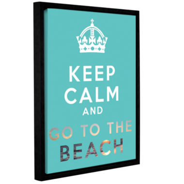 Brushstone Keep Calm And Go To The Beach Gallery Wrapped Floater-Framed Canvas Wall Art