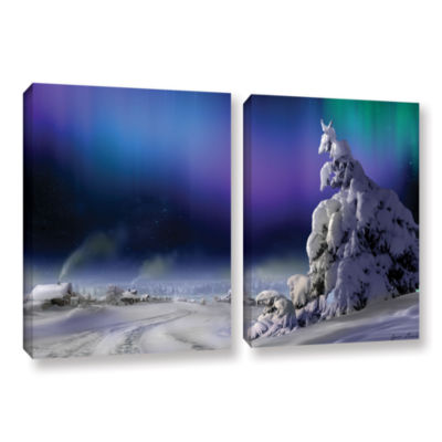 Brushstone Northern Lights 2-pc. Gallery Wrapped Canvas Wall Art