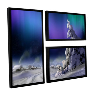 Brushstone Northern Lights 3-pc. Flag Floater Framed Canvas Wall Art