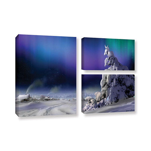 Brushstone Northern Lights 3-pc. Flag Gallery Wrapped Canvas Wall Art