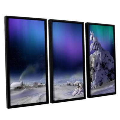 Brushstone Northern Lights 3-pc. Floater Framed Canvas Wall Art