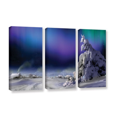 Brushstone Northern Lights 3-pc. Gallery Wrapped Canvas Wall Art