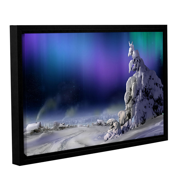 Brushstone Northern Lights Gallery Wrapped Floater-Framed Canvas Wall Art