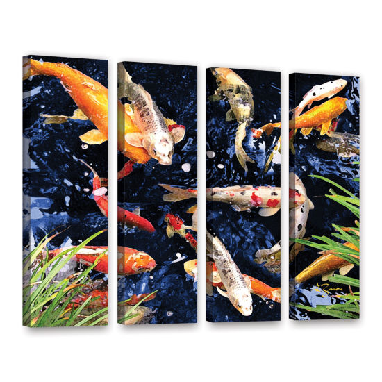 Brushstone Koi 4-pc. Gallery Wrapped Canvas Wall Art