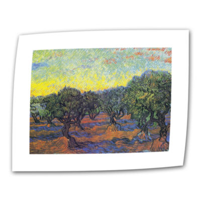 Brushstone Olive Grove With Orange Sky Canvas WallArt