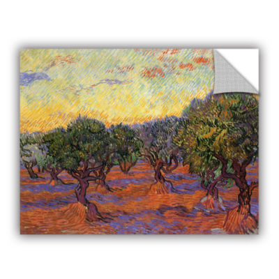 Brushstone Olive Grove With Orange Sky Removable Wall Decal