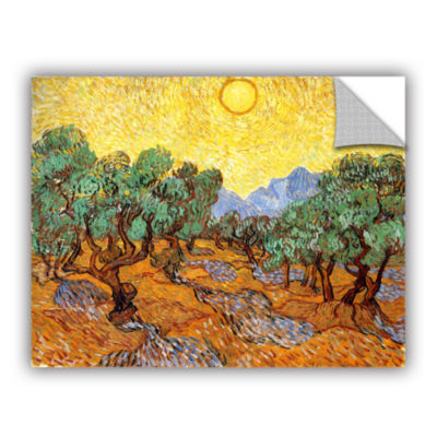 Brushstone Olive Trees With Yellow Skies And Sun Removable Wall Decal