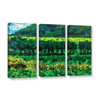 Brushstone On The Train From Edinburgh 3-pc. Gallery Wrapped Canvas Wall Art
