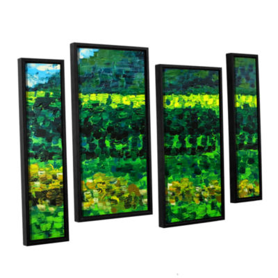 Brushstone On The Train From Edinburgh 4-pc. Floater Framed Staggered Canvas Wall Art