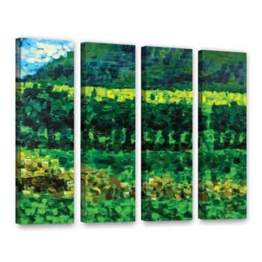 Brushstone On The Train From Edinburgh 4-pc. Gallery Wrapped Canvas Wall Art