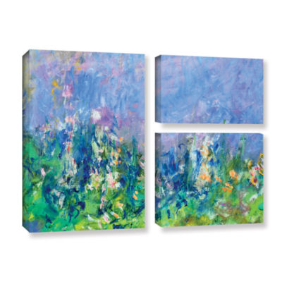 Brushstone Lavender Fields 3-pc. Flag Gallery Wrapped Canvas Wall Art