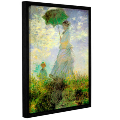 Brushstone Lady With Umbrella In Field Gallery Wrapped Floater-Framed Canvas Wall Art