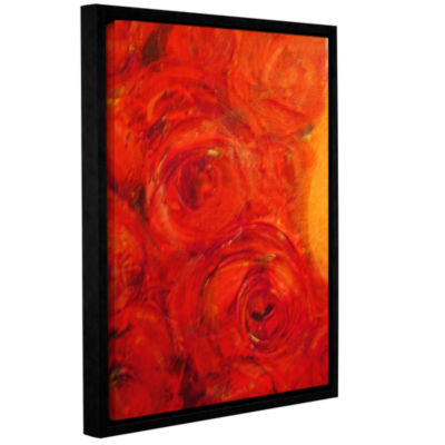 Brushstone Orange Roses Gallery Wrapped Floater-Framed Canvas Wall Art