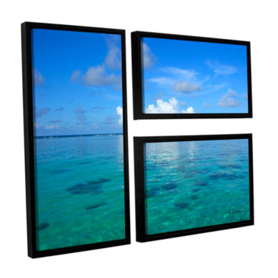 Brushstone Lagoon & Reef 3-pc. Floater Framed Canvas Flag Set