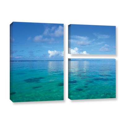 Brushstone Lagoon & Reef 3-pc. Gallery Wrapped Canvas Flag Set