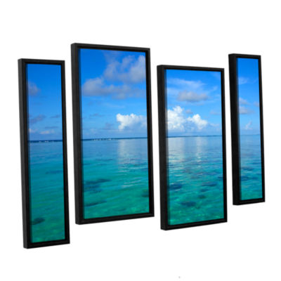 Brushstone Lagoon & Reef 4-pc. Floater Framed Canvas Staggered Set