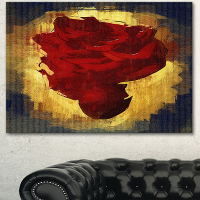 Designart Vintage Background With Red Flower LargeFloral Canvas Art Print - 3 Panels