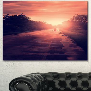 Designart Vintage Biker At Sunset Modern LandscapeWall Art Canvas