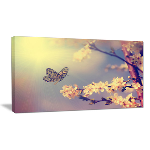 Design Art Vintage Butterfly And Cherry Tree LargeFloral Canvas Art Print