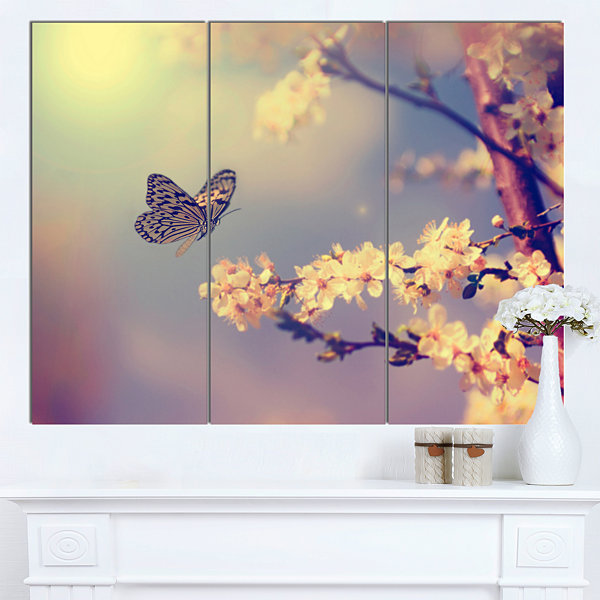 Designart Vintage Butterfly With Flowers Large Floral Canvas Art Print - 3 Panels