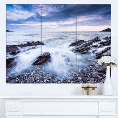 Designart Waves Crashing At Beach Seascape CanvasArt Print - 3 Panels