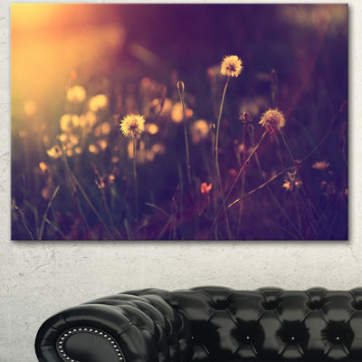 Designart Vintage Dandelion Meadow Photo Large Floral Canvas Art Print - 3 Panels