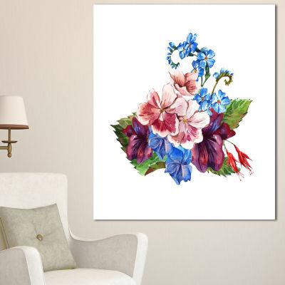 Designart Vintage Floral Watercolor Floral CanvasArt Print - 3 Panels