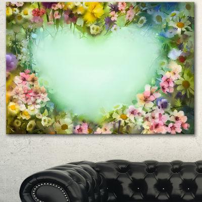 Designart Vintage Flowers With Heart Shape LargeFloral Canvas Artwork