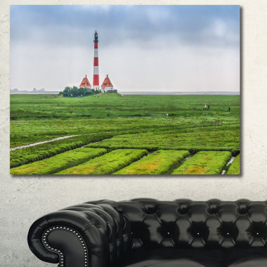 Designart Westerheversand Lighthouse Panorama Landscape Canvas Art Print