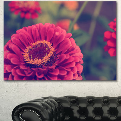 Designart Vintage Photo Of Cute Red Flowers LargeFloral Canvas Art Print