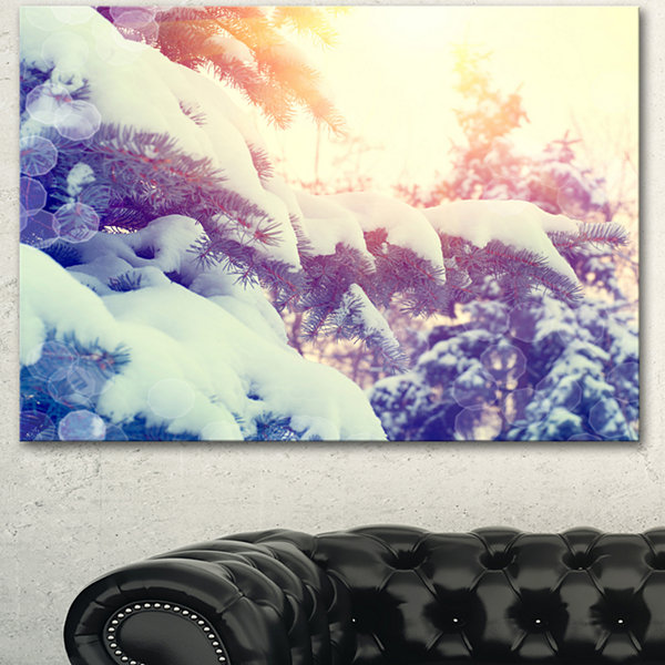 Design Art Winter Pine Trees In Mountains Large Landscape Canvas Art - 3 Panels