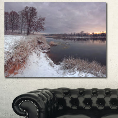 Designart Winter River In Dark Morning OversizedSeashore Wall Art On Canvas