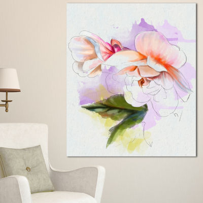 Designart White Begonia Flower Watercolor FloralCanvas Art Print - 3 Panels