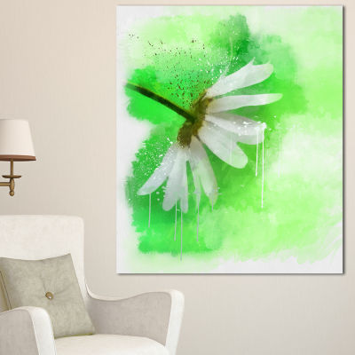 Designart White Chamomile With Green Splashes Floral Canvas Art Print