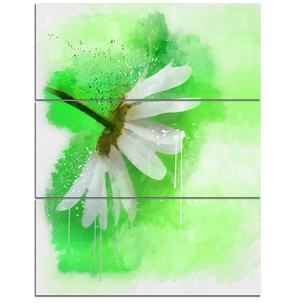 Designart White Chamomile With Green Splashes Floral Canvas Art Print - 3 Panels