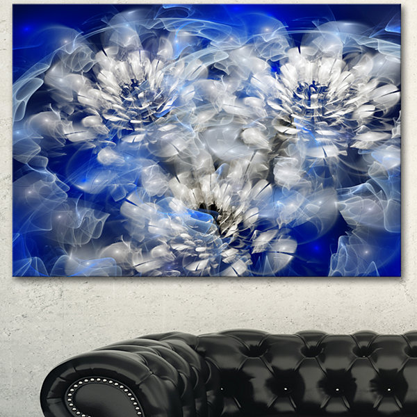 Design Art White Chrysanthemum Fractal Flower Large Floral Canvas Art Print - 3 Panels
