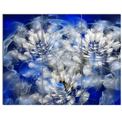 Designart White Chrysanthemum Fractal Flower LargeFloral Canvas Art Print - 3 Panels