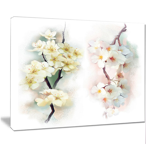 Design Art White Flower Bouquet Illustration ExtraLarge Floral Wall Art