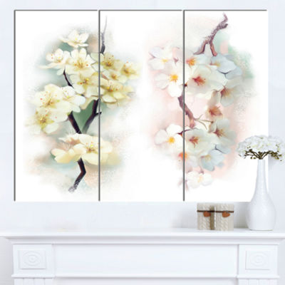 Designart White Flower Bouquet Illustration ExtraLarge Floral Wall Art - 3 Panels