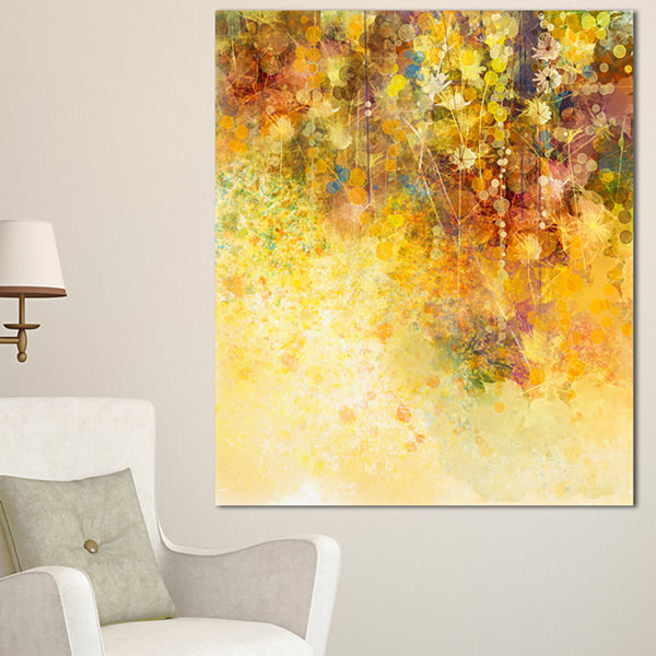 Designart White Flowers And Soft Color Leaves Floral Canvas Art ...