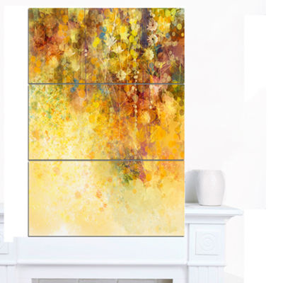 Designart White Flowers And Soft Color Leaves Floral Canvas Art Print - 3 Panels