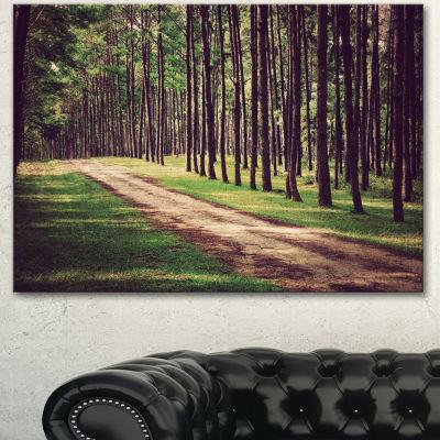 Designart Vintage Style Forest With Pathway ModernForest Canvas Art