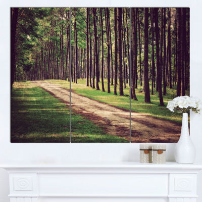 Designart Vintage Style Forest With Pathway ModernForest Canvas Art - 3 Panels
