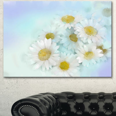 Designart White Gerbera Flowers On Light Blue Large Floral Canvas Artwork - 3 Panels