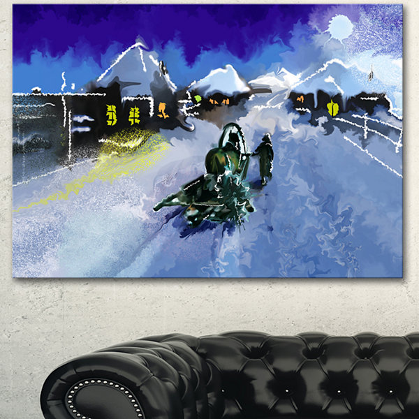 Designart Winter Road And Night Sky Extra Large Landscape Canvas Art Print - 3 Panels