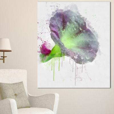 Designart Violet Gentiana Alpina Watercolor FloralCanvas Art Print - 3 Panels