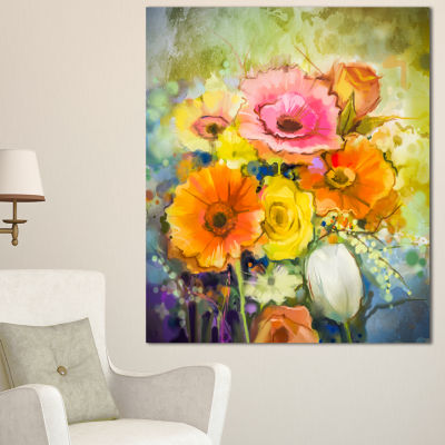Design Art White Gerbera Red Rose And Tulips Floral Canvas Art Print - 3 Panels