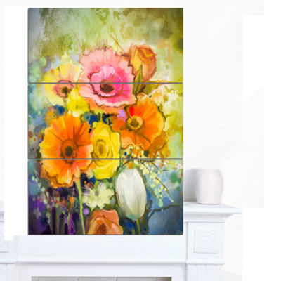 Designart White Gerbera Red Rose And Tulips FloralCanvas Art Print - 3 Panels